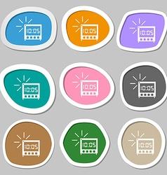 Digital alarm clock icon sign multicolored paper vector