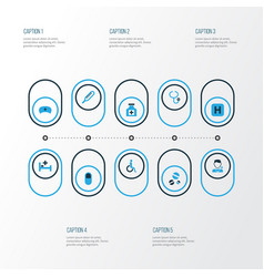 Drug colorful icons set collection of doctor hat vector