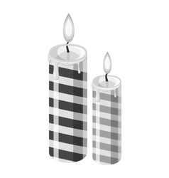 Festive candle icon gray monochrome style vector image vector image