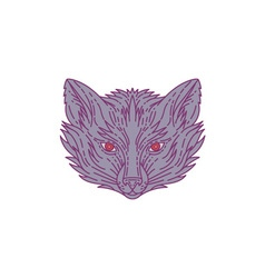 Fox head mono line vector
