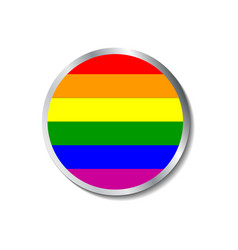 Gay parade badge with metalic border vector