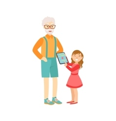 Granddaughter showing grandfather tablet part of vector