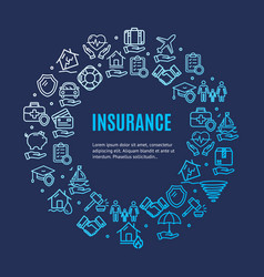 insurance round design template line icon concept vector image