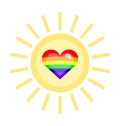 Lgbt heart in a sun vector