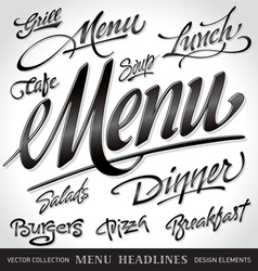 menu headlines set vector image vector image