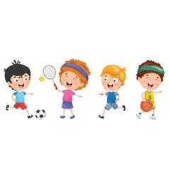 of kids making sport vector image vector image