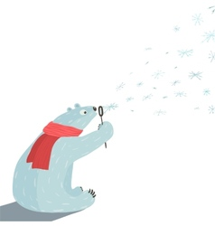 Polar bear blowing snowflakes vector