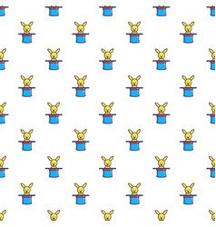 Rabbit appearing from a top magic hat pattern vector