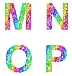 Rainbow sketch font set - letters m n o p vector