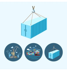 Set icons with container the cranes vector