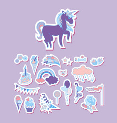 set unicorn stickers with unicorn flower ice vector image