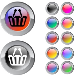 Shopping cart multicolor round button vector image vector image