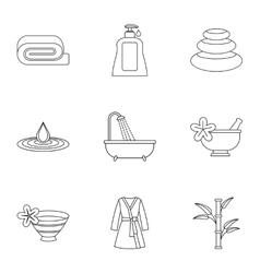 Skin care icons set outline style vector