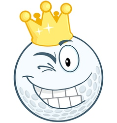 Smiling Golf Ball With Gold Crown Winking vector image vector image