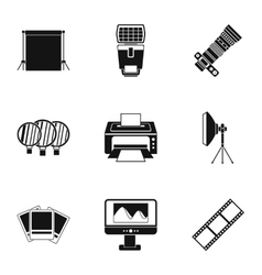 Taking photo icons set simple style vector