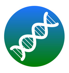 The dna sign white icon in bluish circle vector