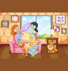 Three kids with two dogs at home vector