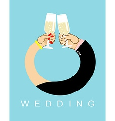 Wedding hands entwined men and women in ring drink vector