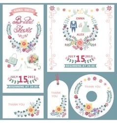 Weddingbridal shower invitation cards set with vector