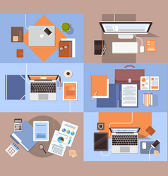 Workplace desk set top angle view tablet laptop vector