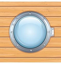 Porthole Window on a Wooden Ship Image vector image
