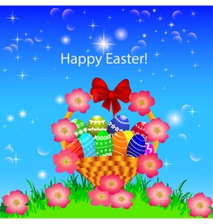 A postcard in the easter basket of eggs flower vector