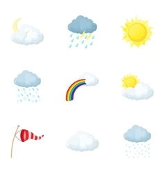 Weather outside icons set cartoon style vector