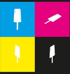 ice cream sign  white icon with isometric vector image