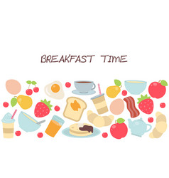 Background with breakfast food and beverages vector