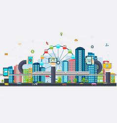 Smart city with business signs vector