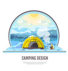 flat style design of winter mountains and camping vector image