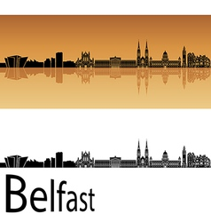 Belfast skyline in orange background vector