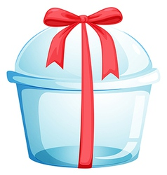 An empty cupcake container with a red ribbon vector