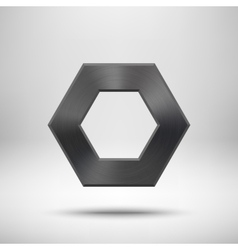 Black abstract polygon button template vector