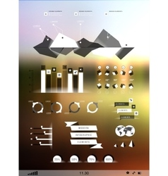 Set elements of infographics on blur background vector