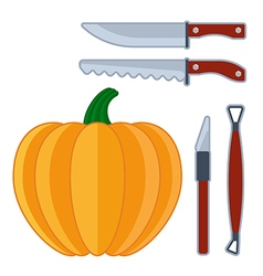 Pumpkin sculpture tools flat halloween icon vector