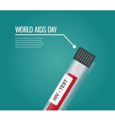 World aids day hiv test tube vector