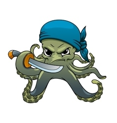 Angry cartoon octopus pirate with sword vector