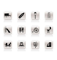 Park objects and signs icon vector