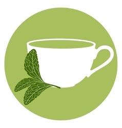 Stevia and a cup of herbal tea vector