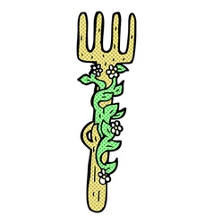 Comic cartoon ornate wooden fork vector
