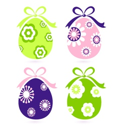 retro easter floral eggs vector image