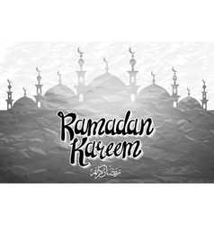 Ramadan kareem beautiful greeting card with arabic vector
