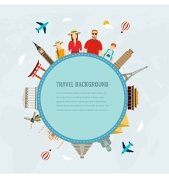 Travel composition with family and famous world vector