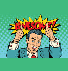 awesome businessman two like gesture thumb up vector image