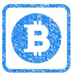 Bitcoin coin framed stamp vector