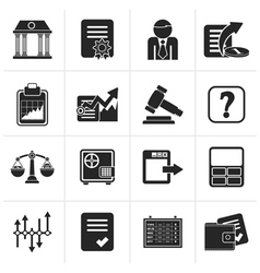 Black stock exchange and finance icons vector