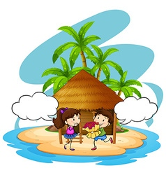 Boy giving flowers to girlfriend on island vector image vector image