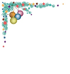 Christmas Balls Decoration on Fir Twigs Corner vector image vector image