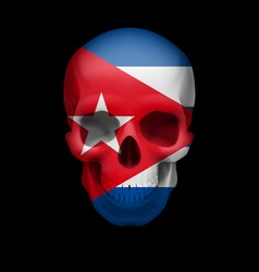 Cuban flag skull vector